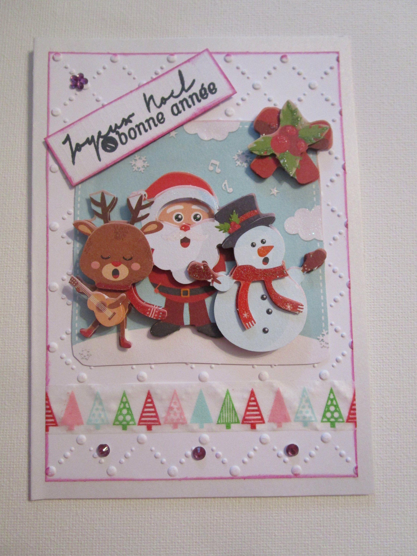 Ma Carte De Noel.Carte De Noël 3d Père Noël Avec Son Renne Et Un Bonhomme