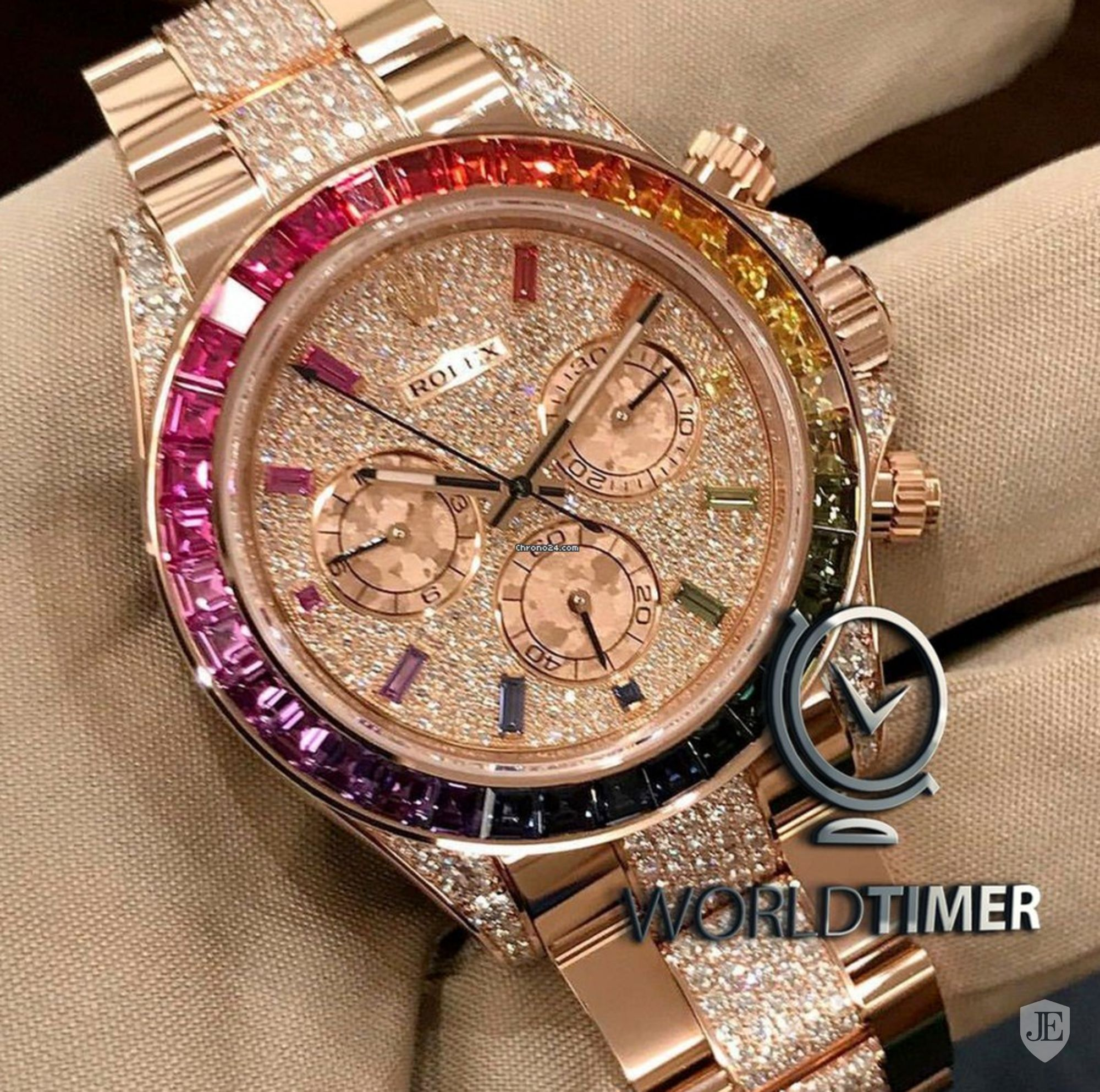 Rolex NEW 116595RBOW,0002 Daytona Rainbow Full Pave Diamond
