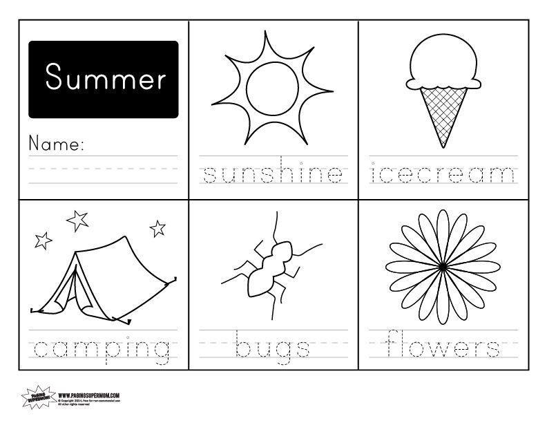 graphic about Free Printable Summer Worksheets identify Printable Summer season Handwriting Worksheet Homeschool