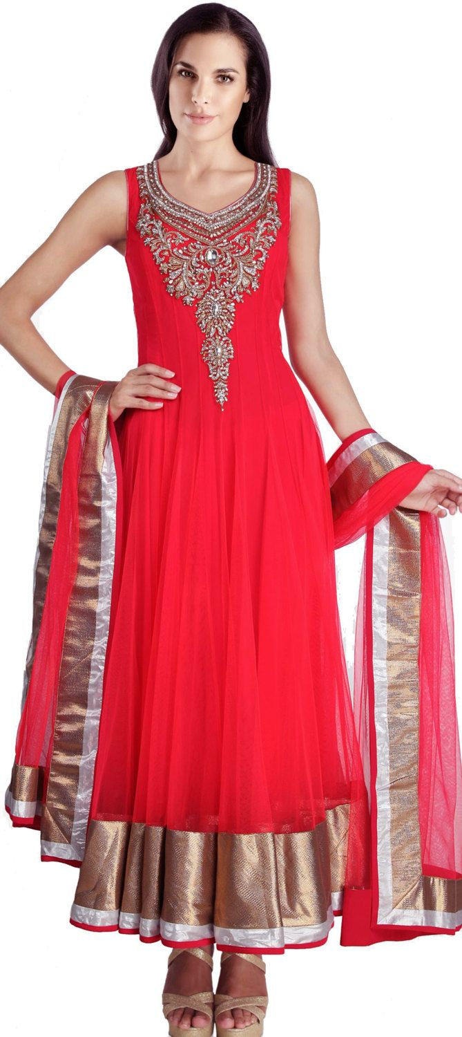 MA 161 / Wedding Women Indian Dresses suits / Red color net ...