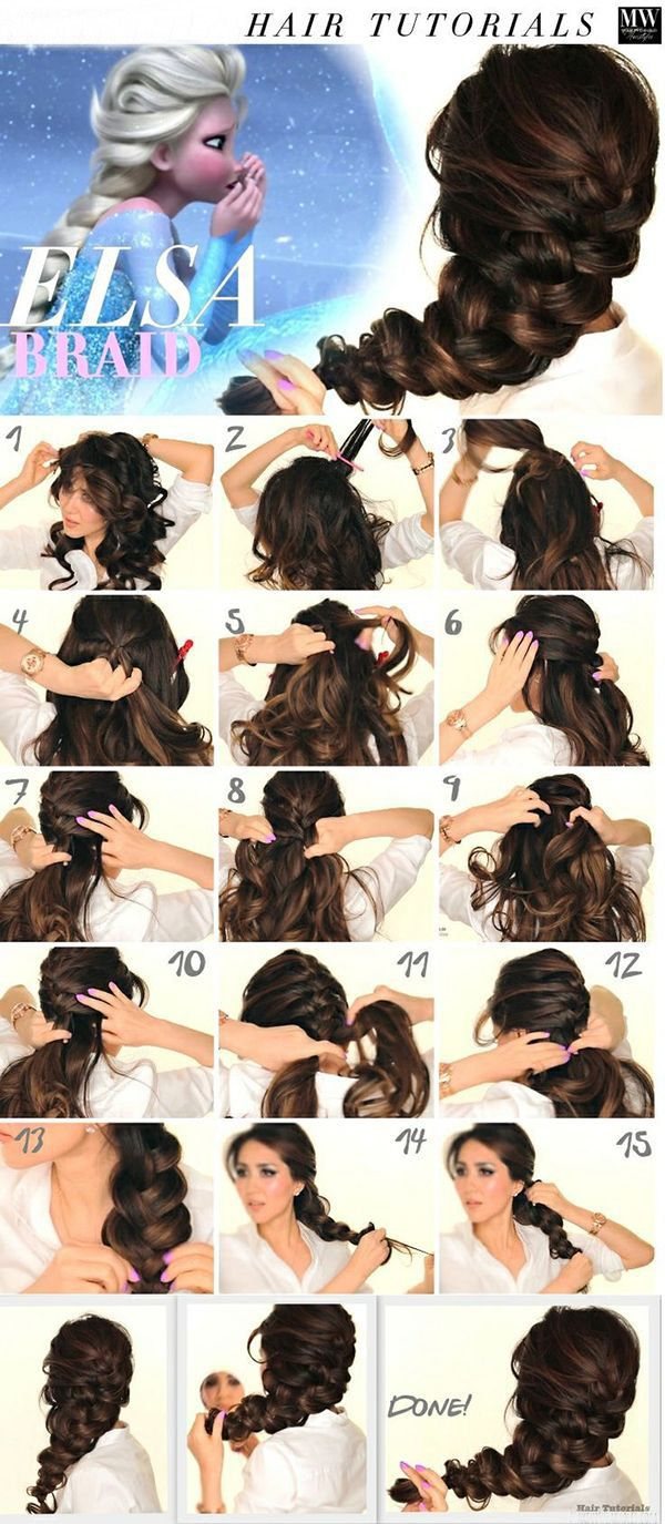 Elsa Braid Hairstyles Tutorials with Dark Brown #hairplusbase extensions for that thickness ♥