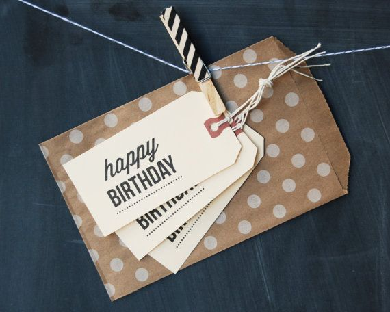 MANILA GIFT TAGS  Happy Birthday  Set of 6 by HENANDCO on Etsy