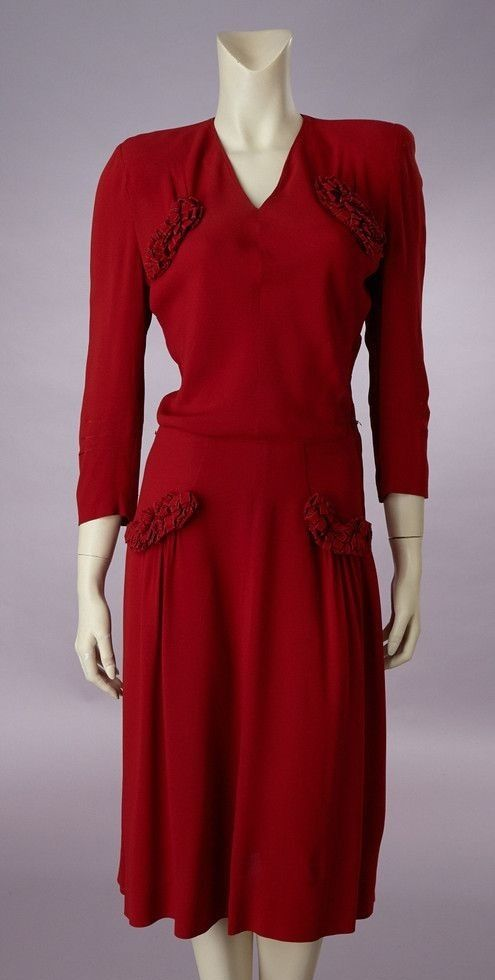 1940s red crepe