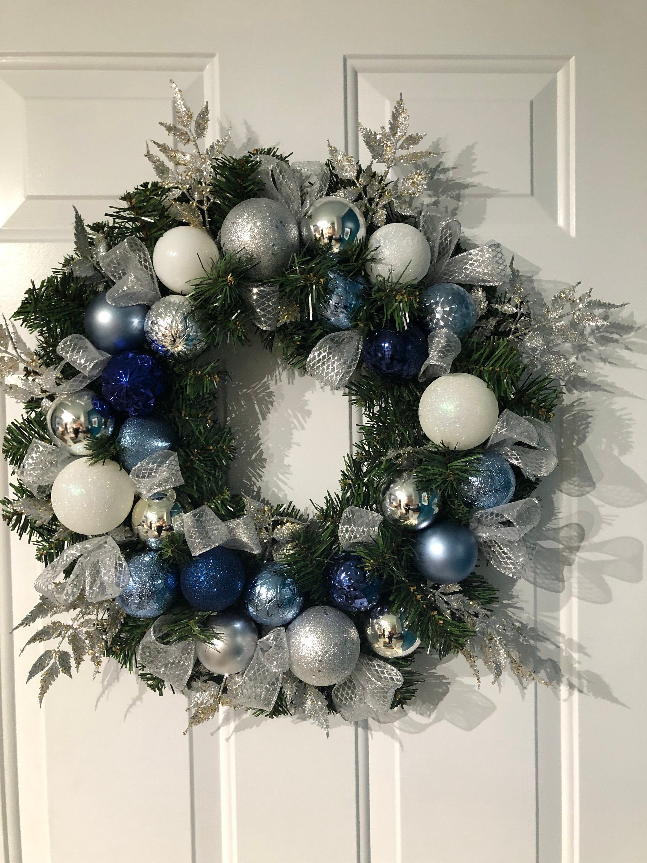 Large Sparkling Navy Blue Silver Holiday Wreath Ice Blue Navy Holiday Wreath Front Door Royal Blue Faux Faux Christmas Wreaths Christmas Wreaths Faux Christmas