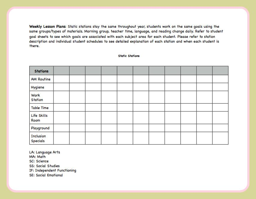 Lesson Plan Template Autism Classroom Lesson Plan Templates And