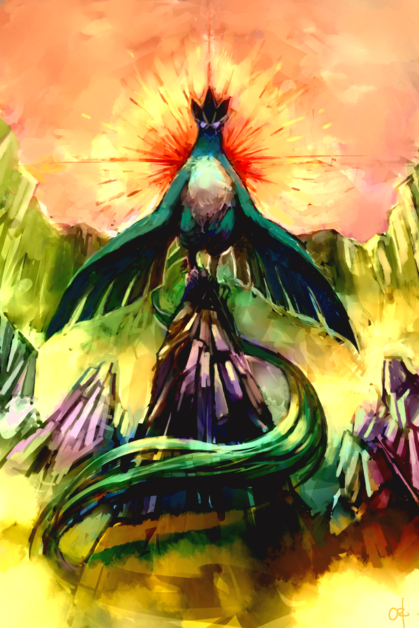 Beautiful design of Articuno, the legendary Pokemon. The brightness of the sunset gives this illustration a lot of depth, and I love how Articuno's giant tail leaves shadows on the rock that it's on. Fantastic illustration.