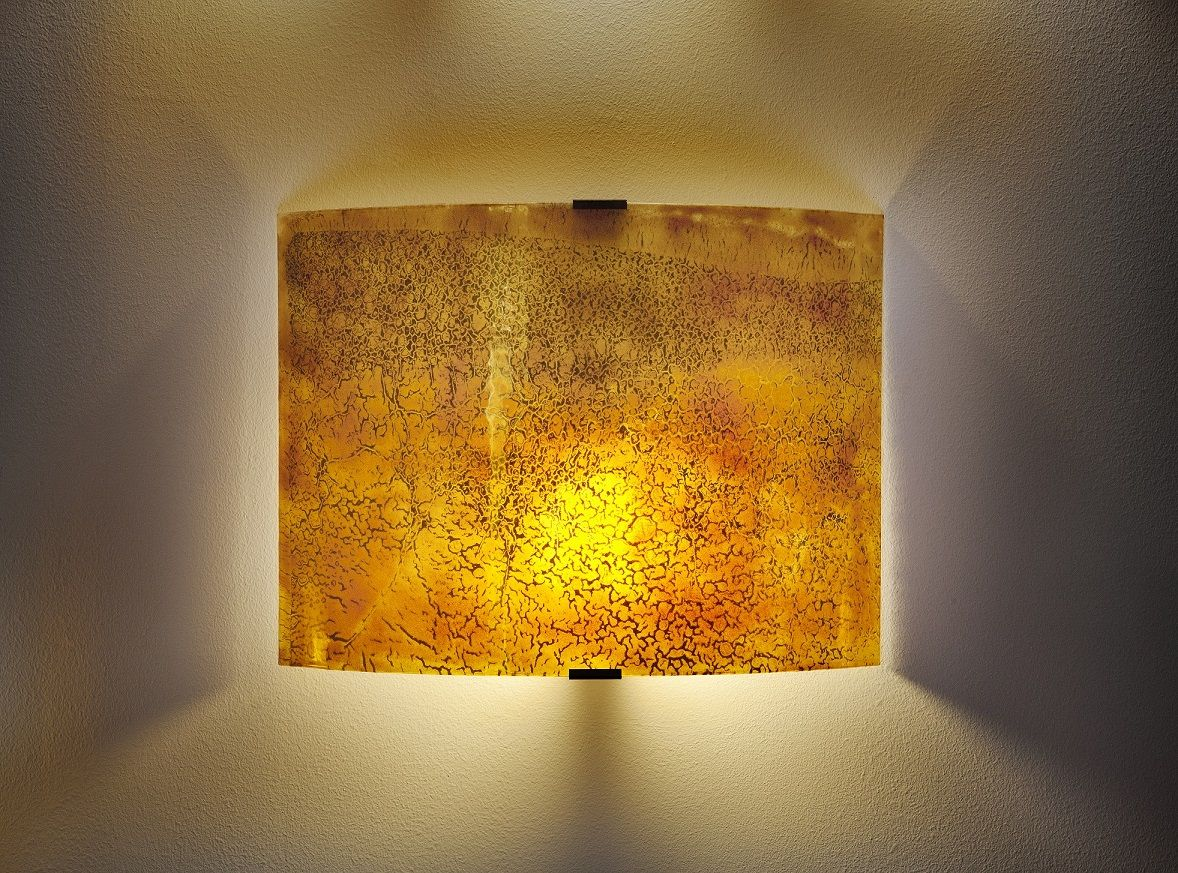 Exotic amber glass wall sconces made of fused glass by Galilee ...