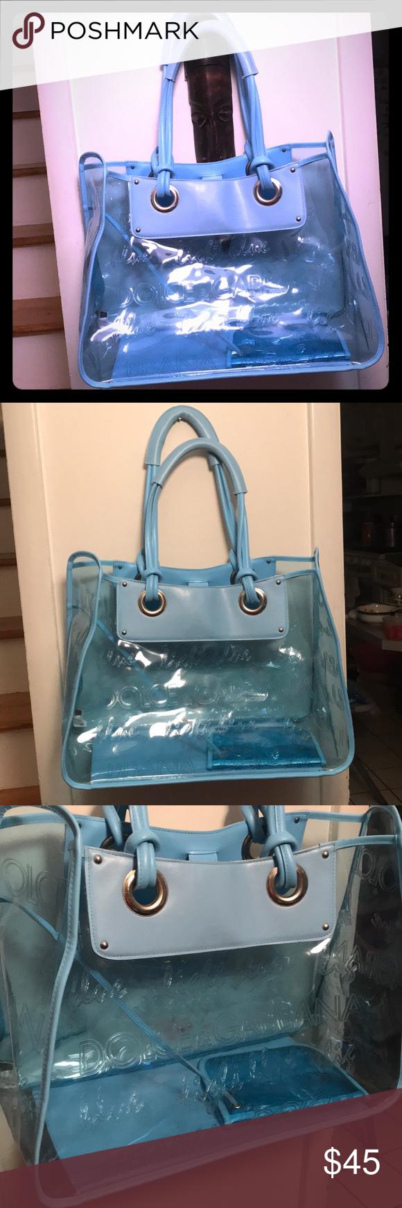 Dolce   Gabbana Light Blue Beach Bag Large Light Blue Clear Bag Dolce   Gabbana  Bags Totes b1041dd8f608c