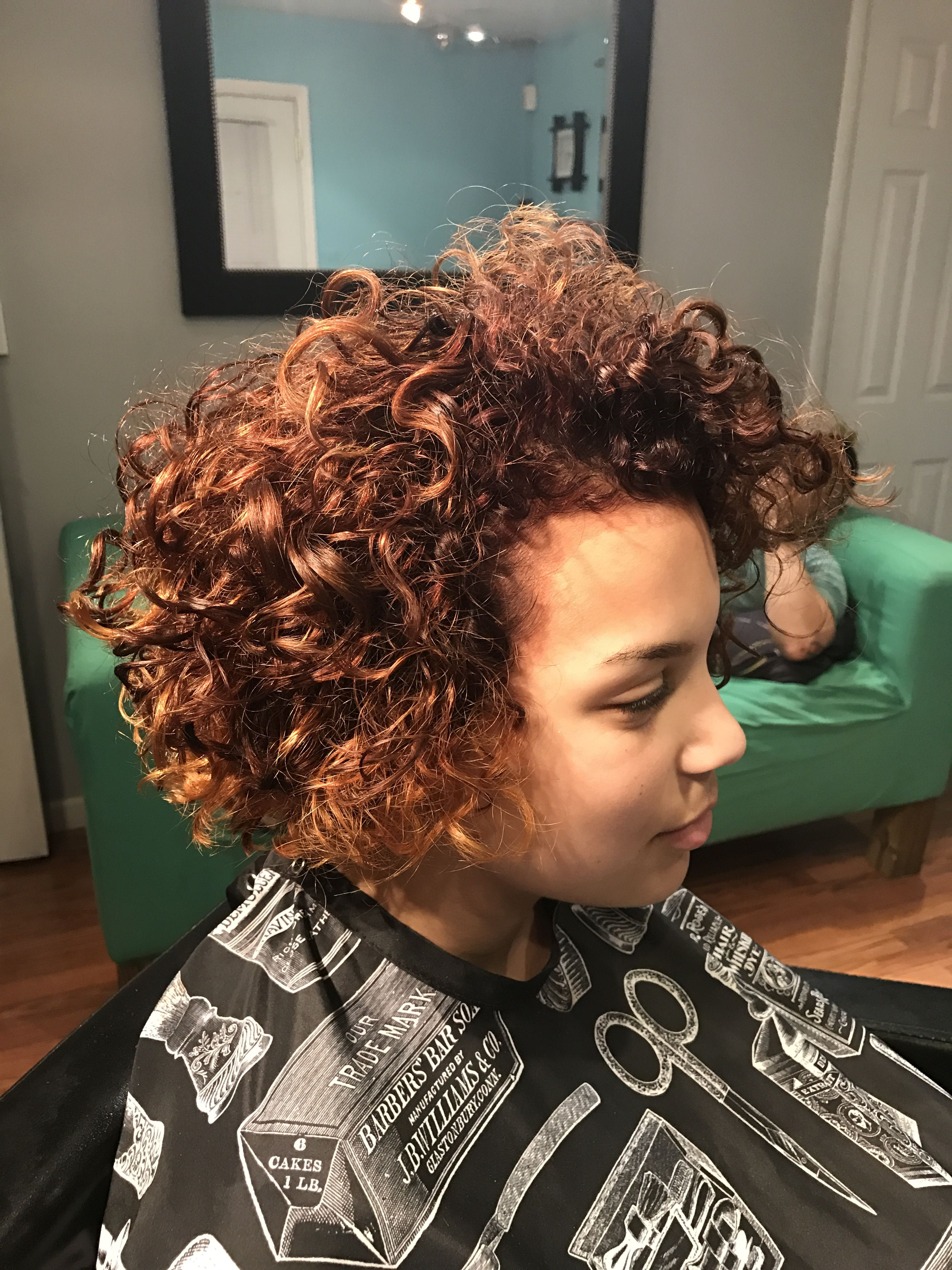 Red With Blonde Highlights On My Peanut Naturally Curly Hair Curly Hair Styles Naturally Blonde Highlights Curly Hair Styles