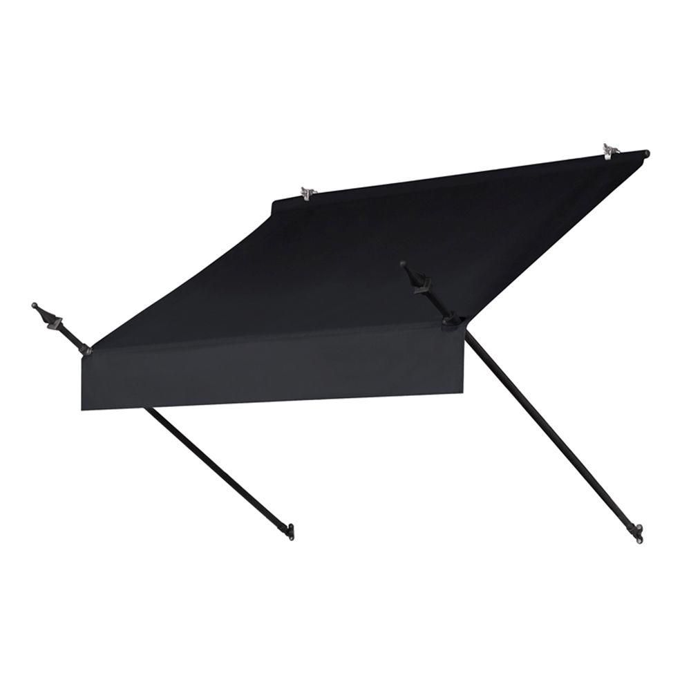 Awnings In A Box 4 Ft Designer Manually Retractable Awning 36 5 In Projection In Ebony 3020769 The Home Depot Window Awnings Retractable Awning Custom Awnings