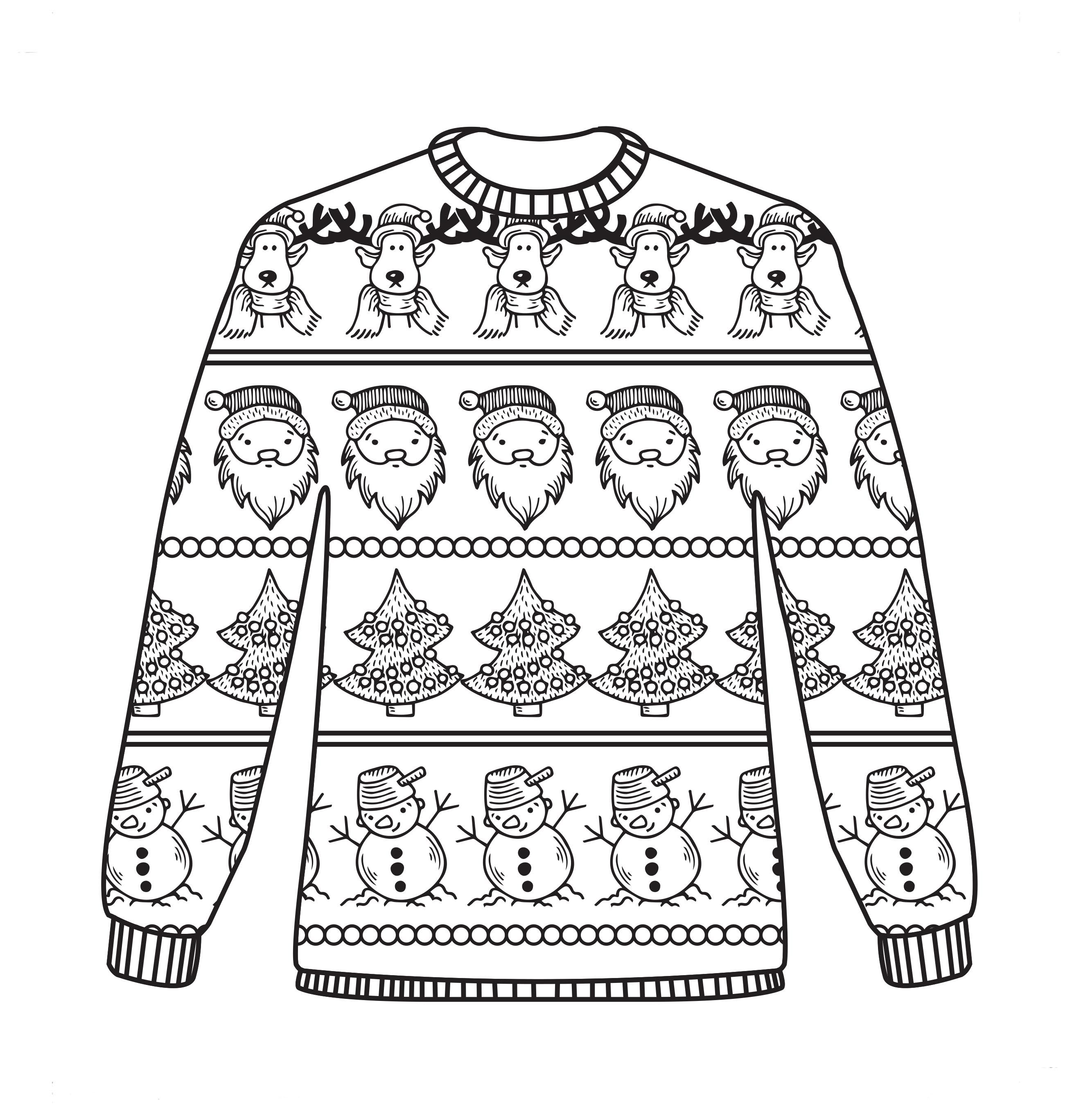 Free Christmas jumper colouring sheet! | Coloring Pages ...