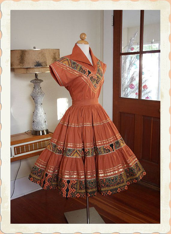 3f4c3ee3c7bb YEEHAW 1950 s Caramel Cotton 2 Piece Patio Dress or Squaw Dress Set ...