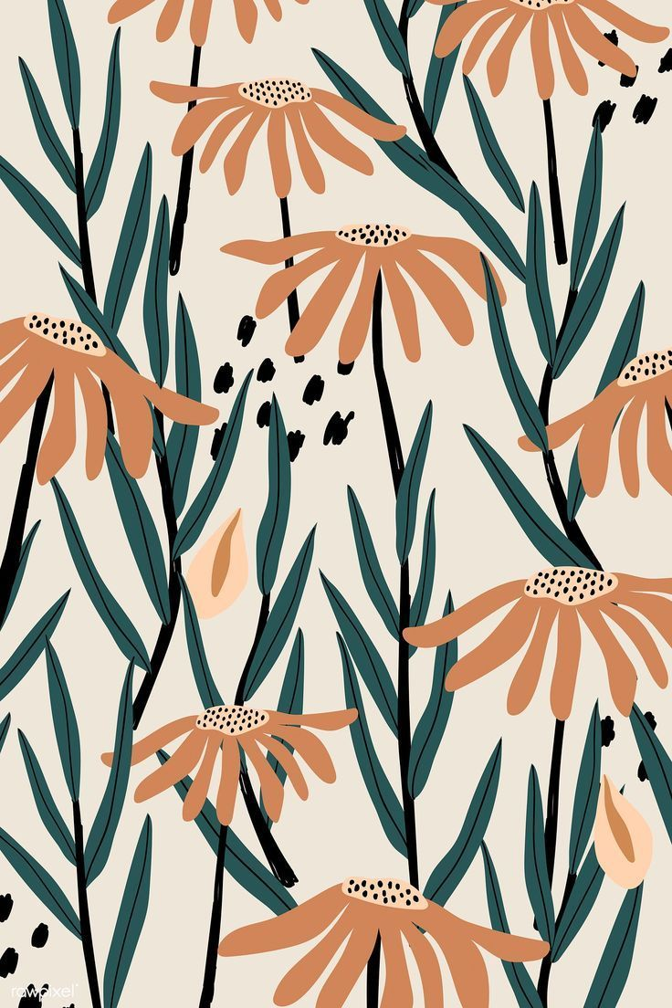 Download premium vector of Brown daisy patterned beige background vector