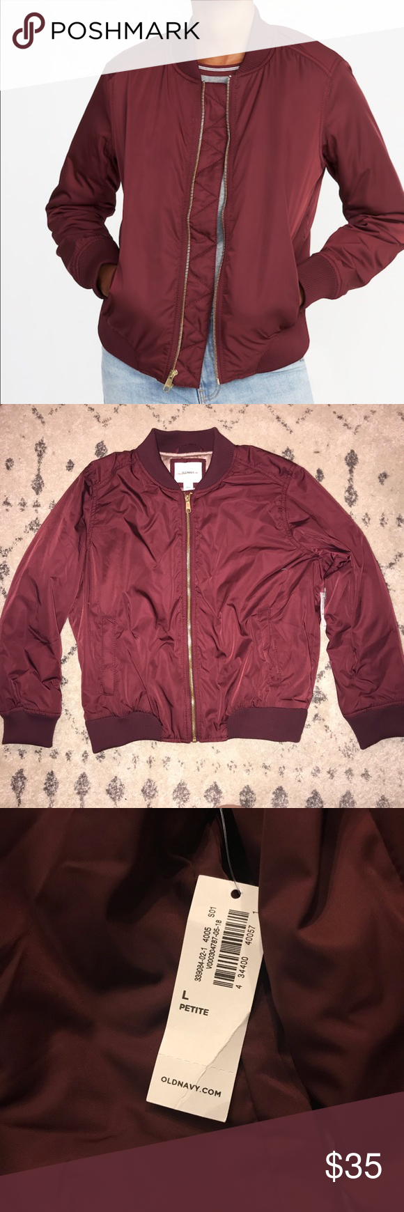 Old Navy Satin Zip Bomber Jacket Color  Wine Purple Slightly fitted through  body. Bomber 309e5c5f5b03