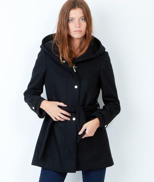 meilleur service 18110 7a1c1 Manteau ceinturé à capuche - ELLEN - NOIR - Etam | Style ...