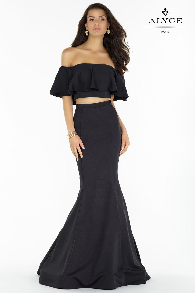 d868ce3b7c2593 Alyce 6835 Black Off the Shoulder Ruffle Crop Top Two Piece Stretch Crepe  Dress