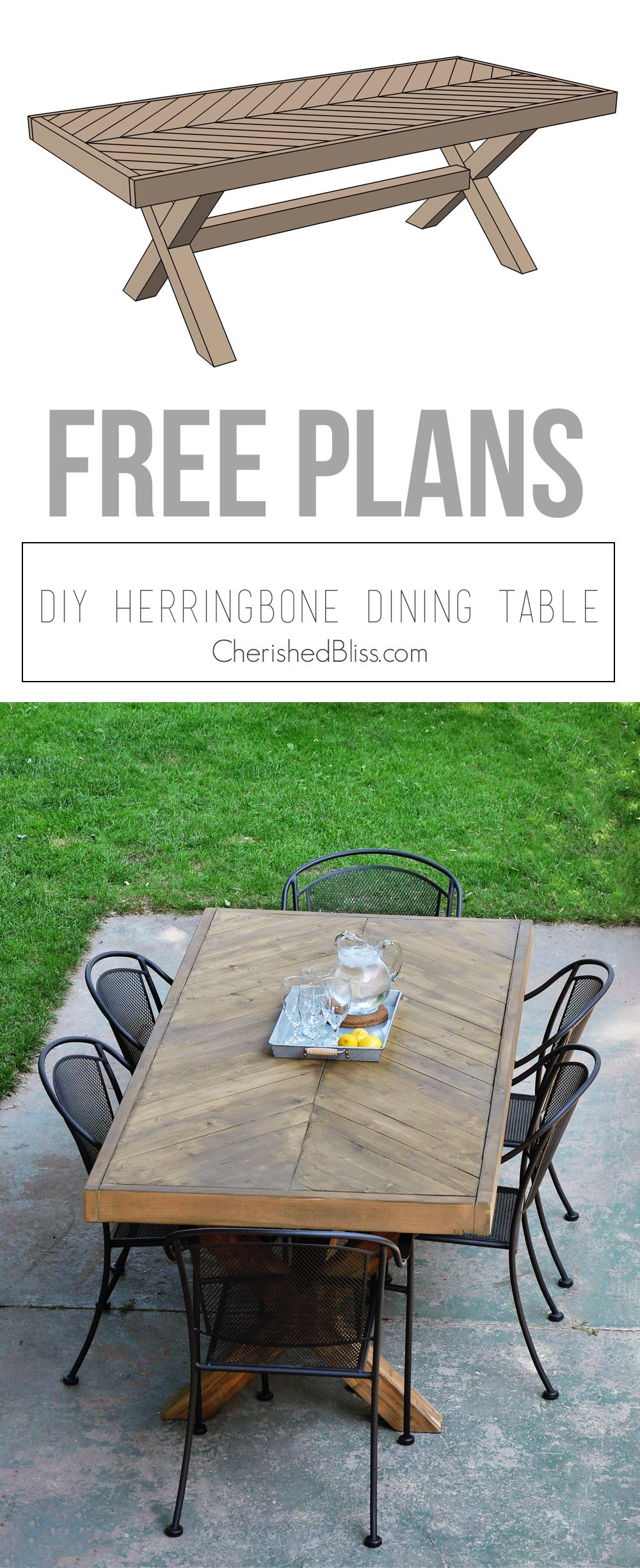 Build this diy outdoor table featuring a herringbone top and x brace legs would also make a great rustic dining room table