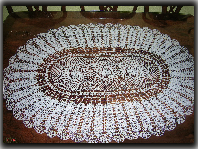 Centro de mesa ovalado manteles y tapetes a crochet for Centro de mesa a crochet
