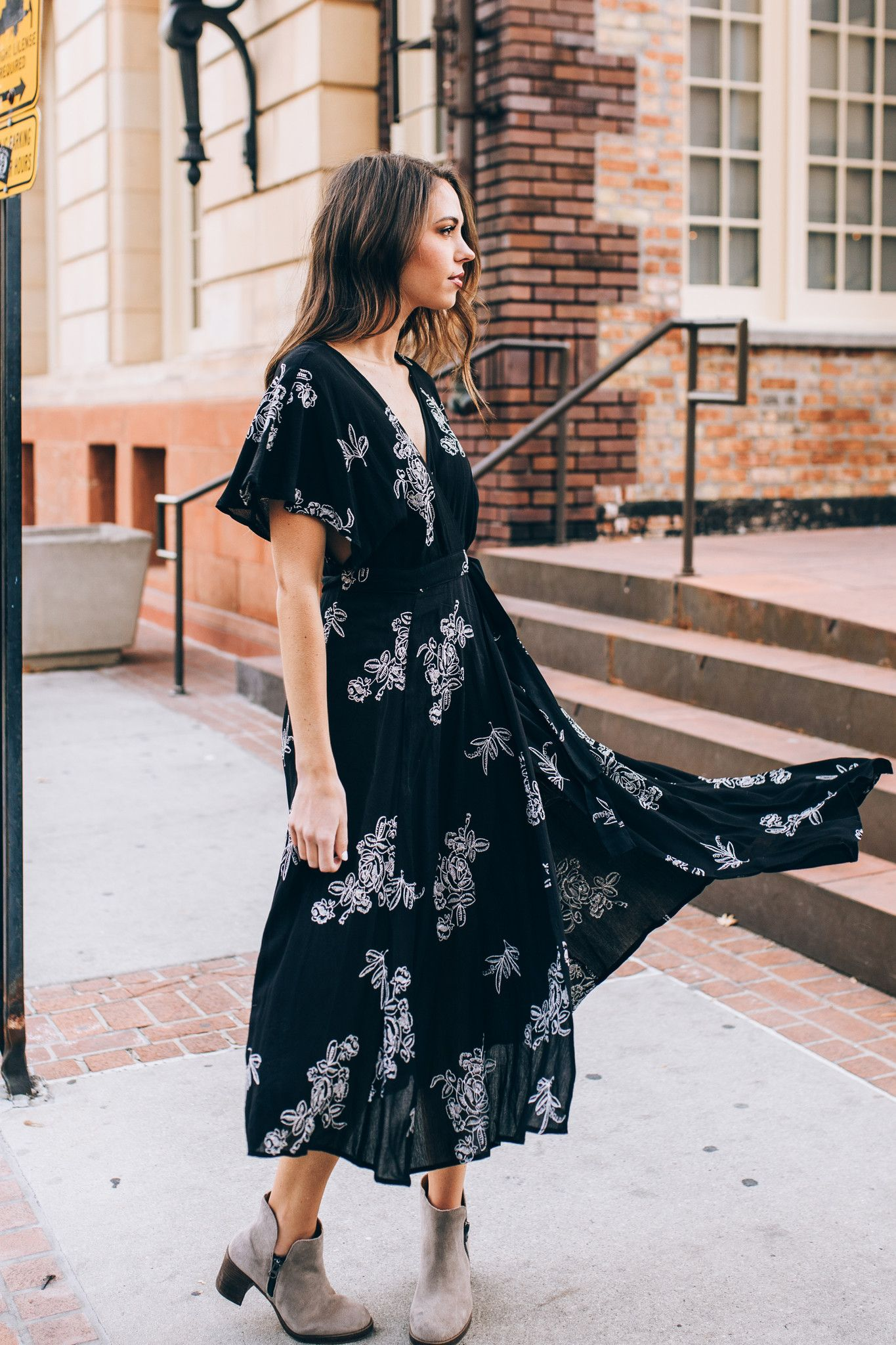 The beverly embroidered wrap dress in black wrap dresses wraps
