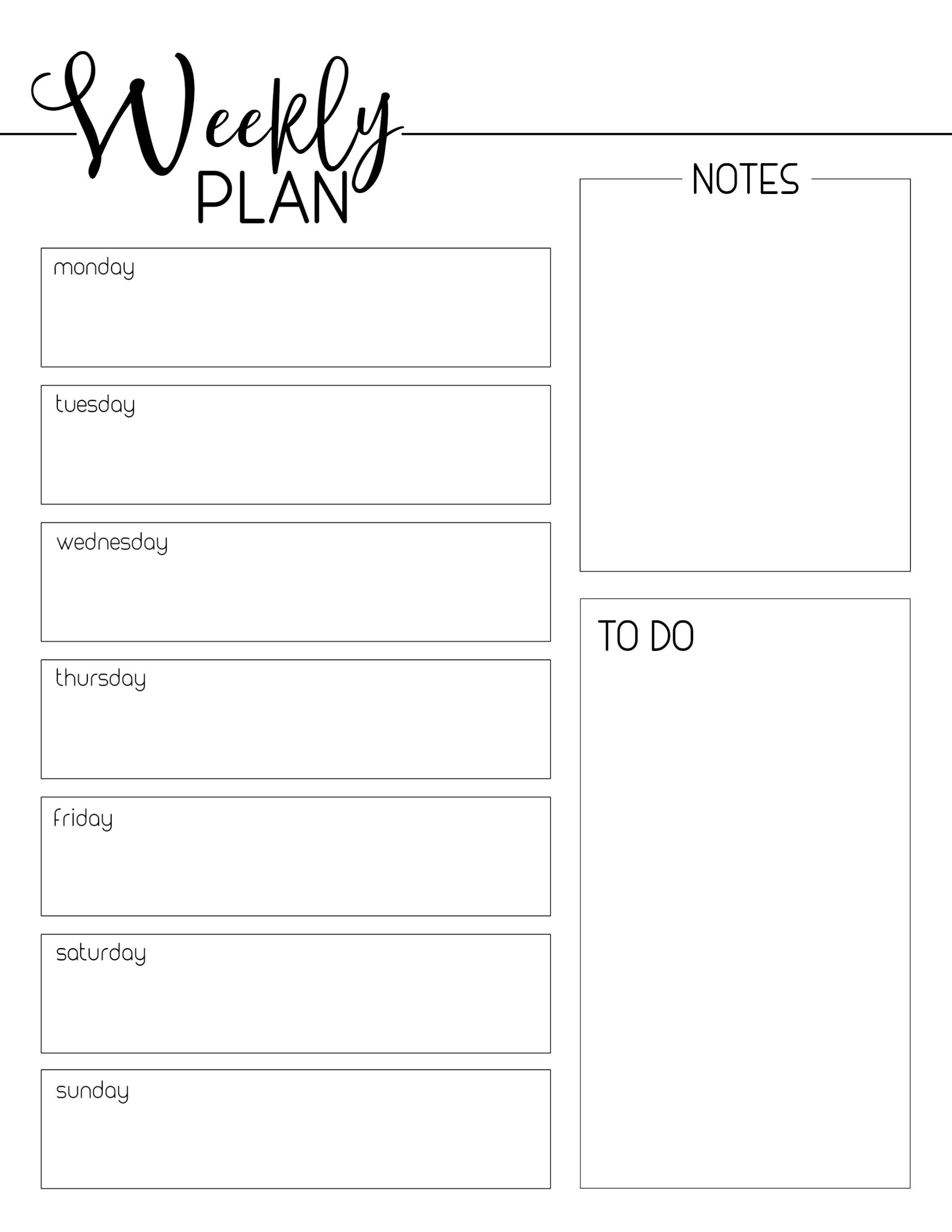 Free Printable Weekly Planner Templates Weekly Planner Free Printable Weekly Planner Template Weekly Planner Free