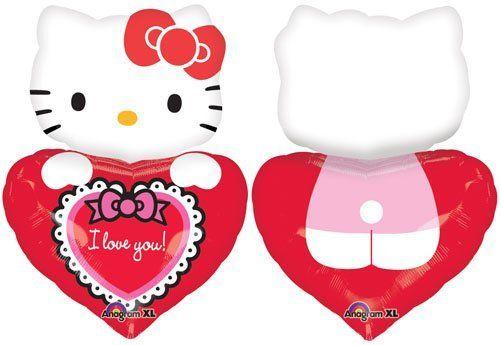 """I Love You"" Hello Kitty Heart White 29"" Balloon Mylar by Anagram. $6.22"