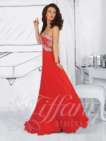 Prom Dress by Tiffany Designs 16024. The fabric in this style is Silky Chiffon. Strapless sweetheart bodice with large bead accents with A-L...