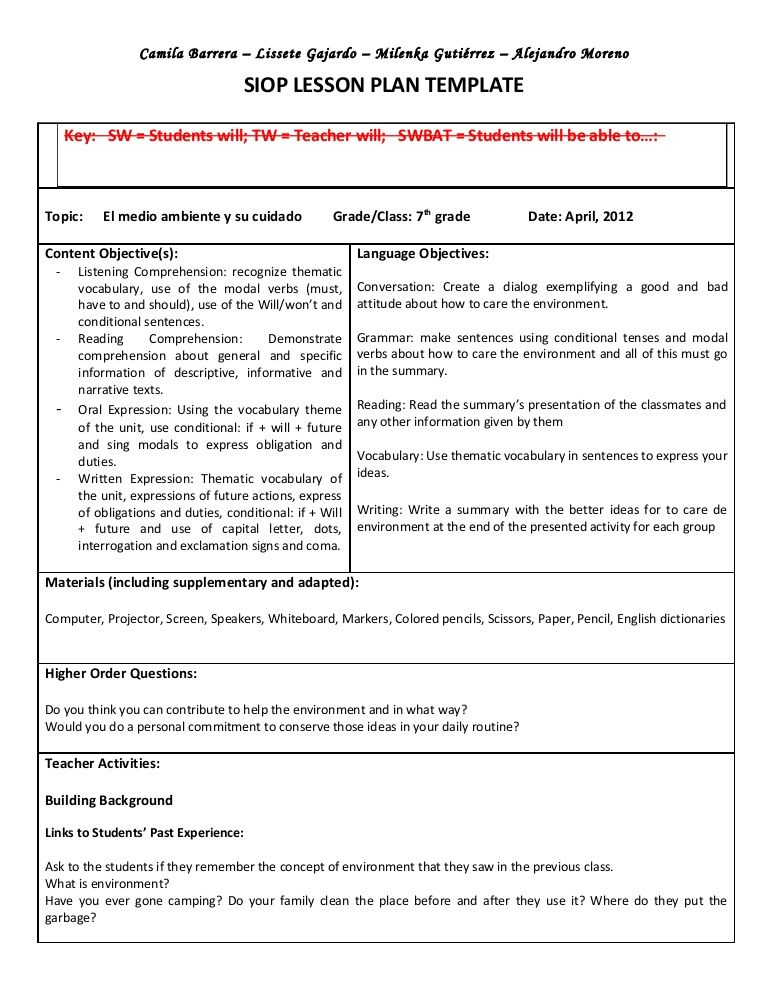 Siop Unit Lesson Plan Template Sei Model | Once A Teacher Always A