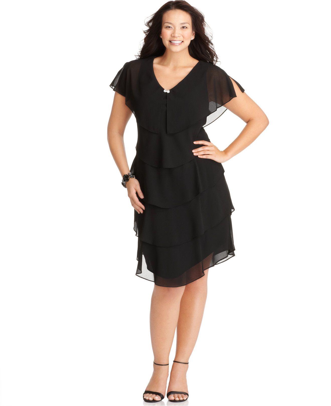 Black tiered dress plus size