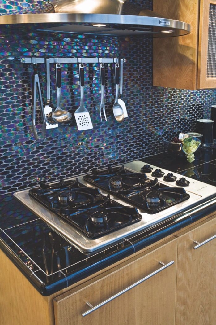 Glass backsplash in the kitchen. #thetileshop | Kitchen | Pinterest ...
