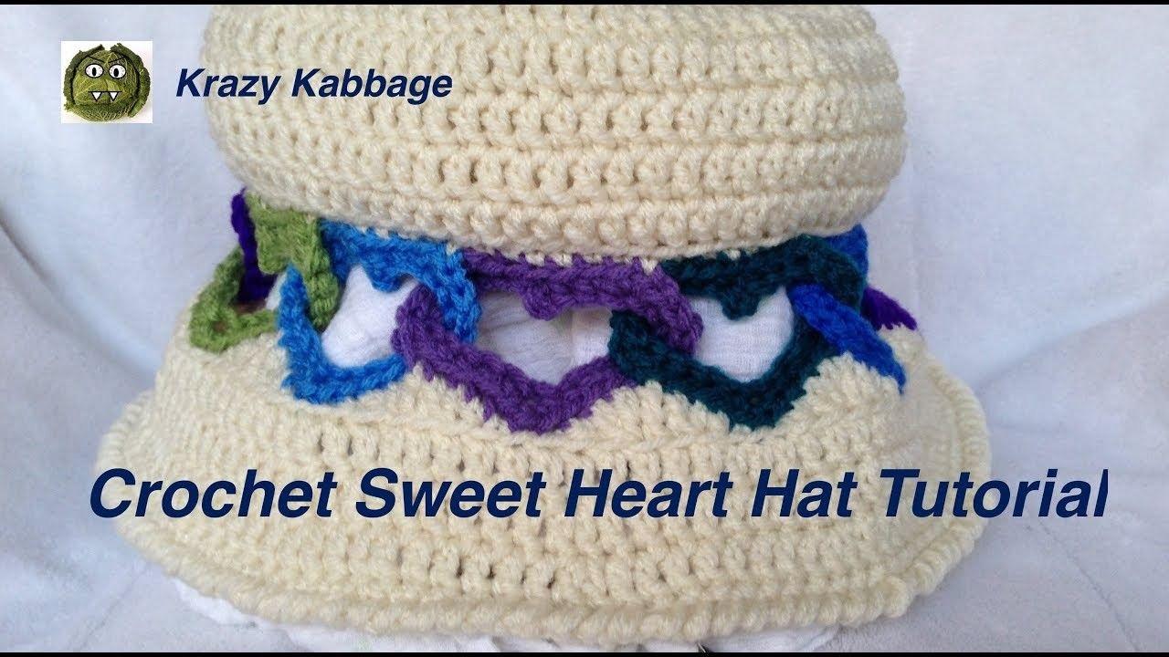 Crochet Interlocked Hearts Hat Tutorial | Crochet | Pinterest