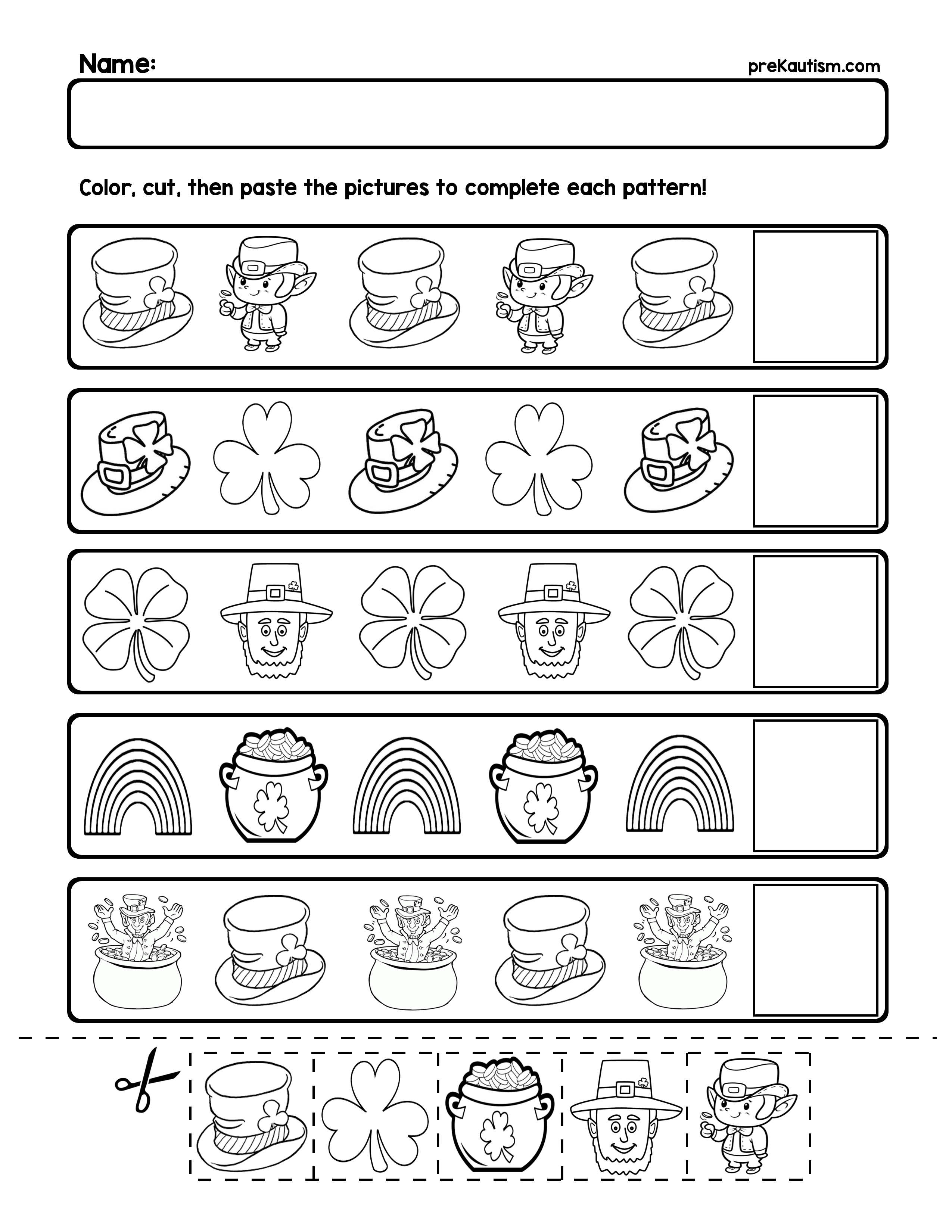 Free St Patrick S Day Pattern Worksheets