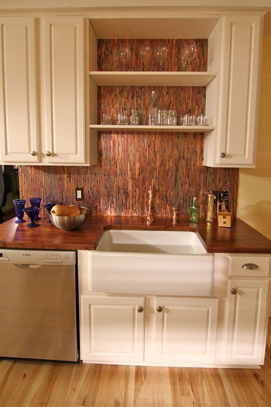 Enchantment Copper Backsplash Creates A Wonderful Look With Open Shelves  #colorcopper #copper #kitchen