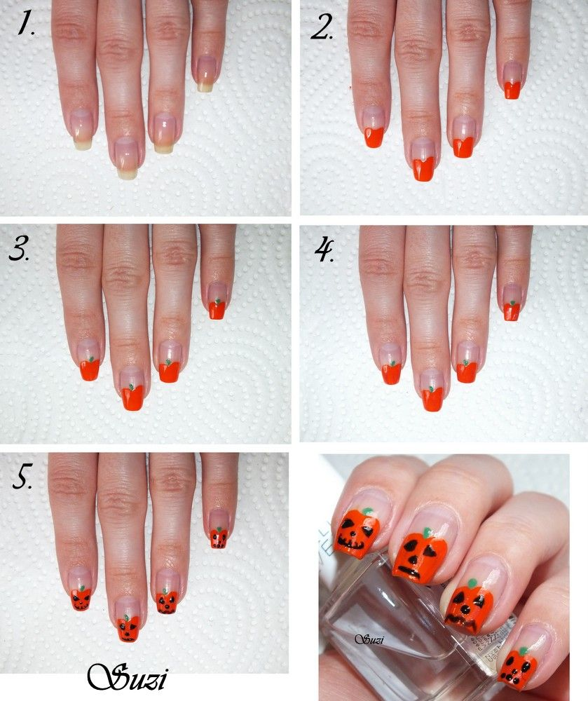 Beauty By Suzi Pumpkin Nails Halloween Nail Art Easy Halloween Nail Art Tutorial Halloween Nails