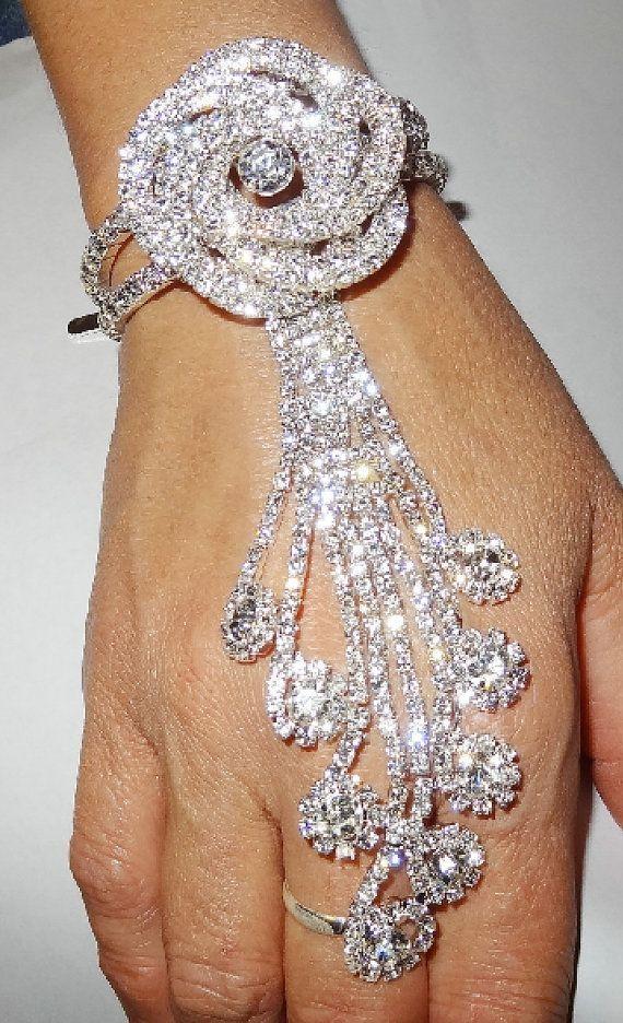 Wedding jewelry Rhinestone Bracelet Ring Ensemble
