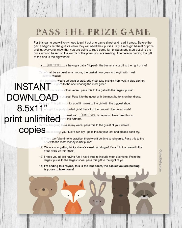 Printable Woodland Animal Pass The Prize Baby Shower Game In 2020