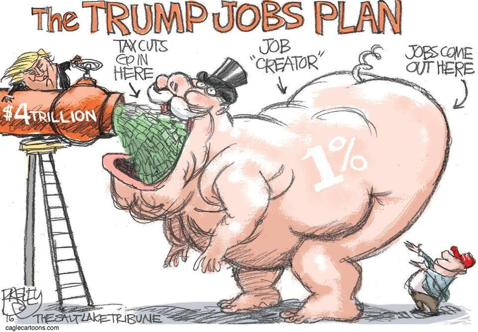 """""""The Trump Jobs Plan"""" de @Patbagley vía @sltrib #FelizJueves #CaricaturaDelDía #PorLaMañana #Trump #Economía"""