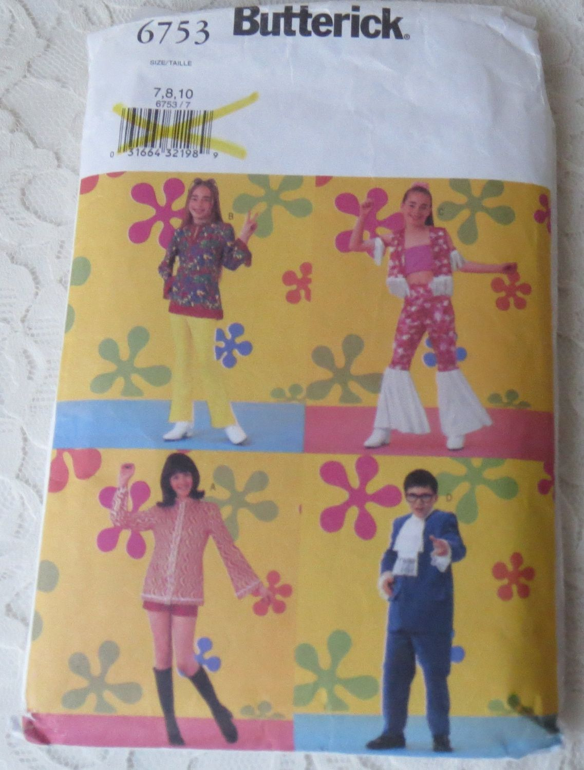 Butterick 6753 Costume Sewing Pattern Groovy Austin Powers in Childrens Boys Girls Sizes 7-10 OOP