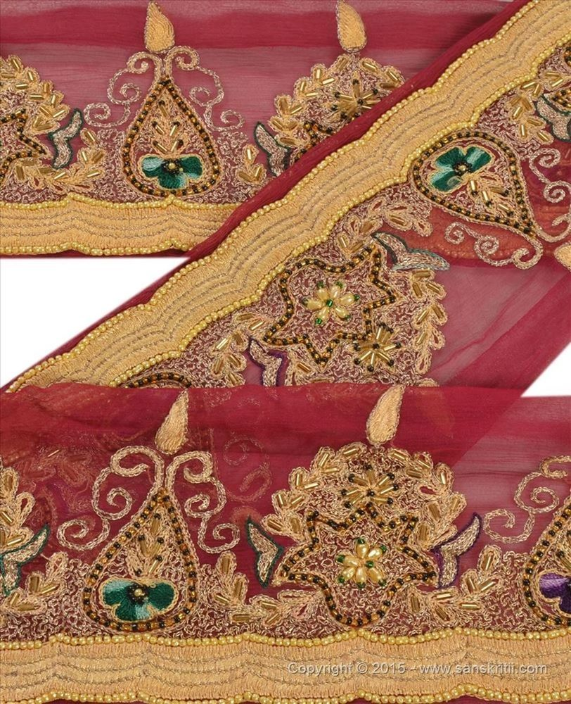 Trim & Edging Linens & Textiles (pre-1930) Vintage Sari Border Antique Hand Embroidered Trim Sewing Blue Patch Lace