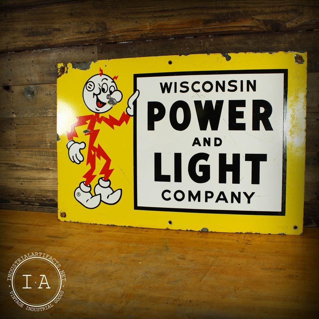 Vintage Reddy Kilowatt Wisconsin Power Light Company Porcelain
