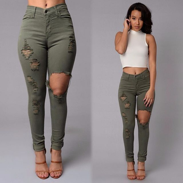 3ae207bb315 2016 sexy fashion new style women high waist jeans Full Length Ripped jeans  Skinny for women s jeans slim pants