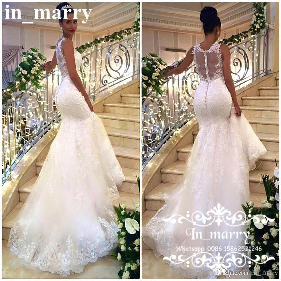 cbe10033d67 Sexy Arabic African Mermaid Wedding Dresses 2017 Plus Size Backless Full  Vintage Lace See Through Back Nigeria Fashion Designer Bridal Gowns 2017  Wedding ...