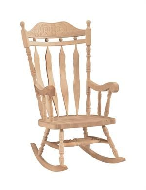 Beautiful Outdoor Carved Back Cannonball Rocking Chair, Unfinished