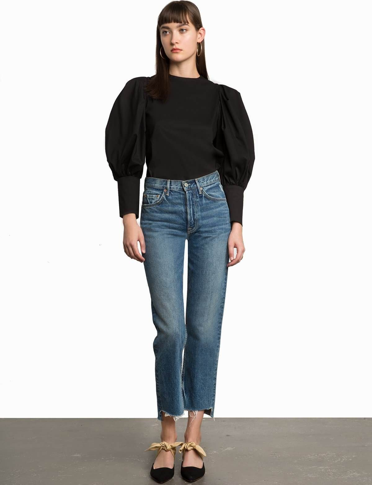 Taylor black puffy sleeve button shirt in fall