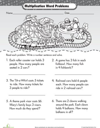 intro to multiplication roller coaster word problems school multiplication worksheets word. Black Bedroom Furniture Sets. Home Design Ideas