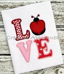 LOVE Ladybug Applique - 4 Sizes! | Valentine's Day | Machine Embroidery Designs | SWAKembroidery.com Creative Appliques