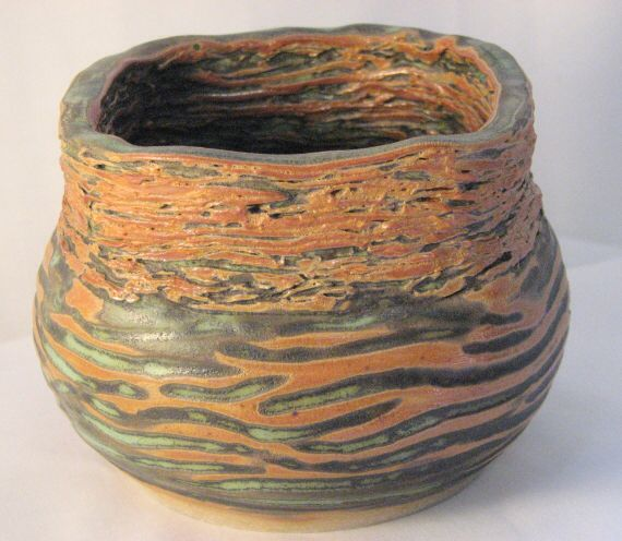 Thrown and carved pottery bowl with handbuilt stacked top Demaliacreations@gmail.com