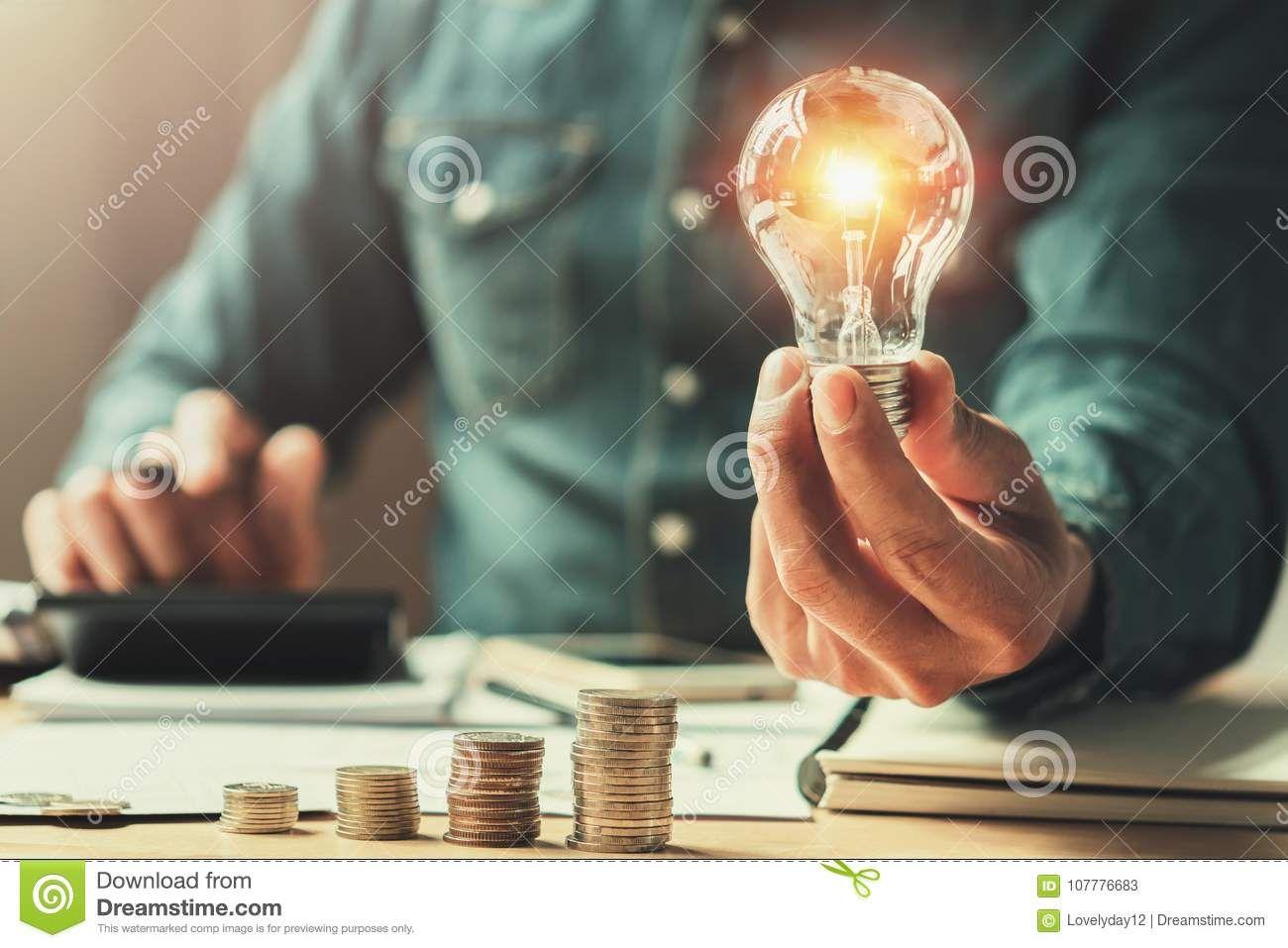 Business Finance And Saving Power  New Idea Solar Energy Stock Image
