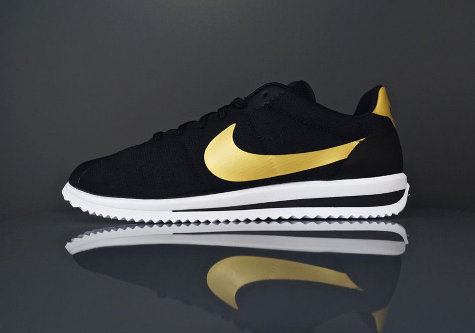 save off 34334 bc8e5 Black and Gold Nike Cortez