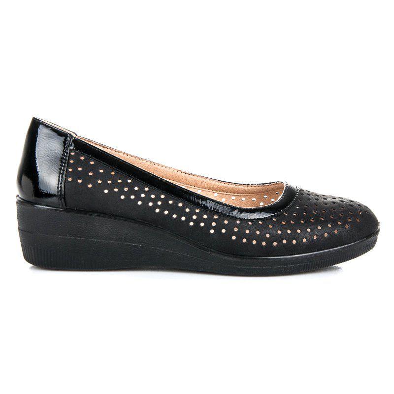Kylie Azurowe Baleriny Na Koturnie Czarne Shoes Flats Fashion