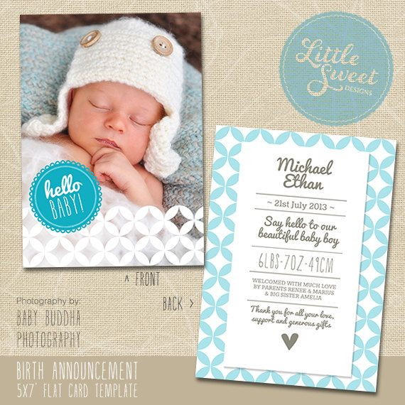 5x7 Birth Announcement Template for photographers (PSD Baby - announcement template free